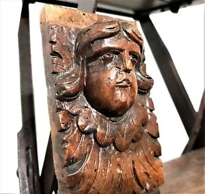 17 th Renaissance green man figure corbel antique french wooden salvaged furniture