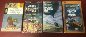 4 pbs Jules Verne Around World 20,000 Leagues Mysterious Island Earth Moon SciFi