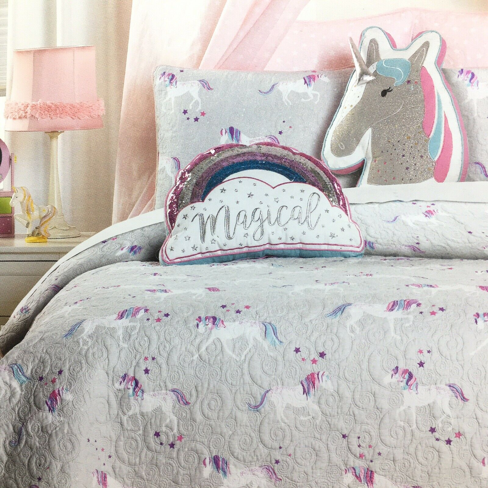 3pc Nicole Miller Unicorn Star Quilt TWIN 2 Throw PilFaibles Cotton Coverlet Girls