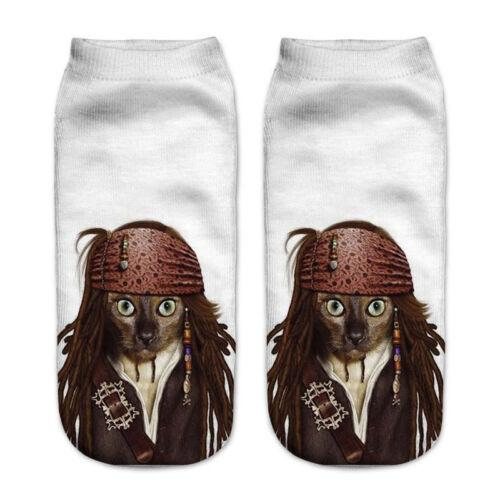 Cotton Socks Cartoon 3D Printed Cat Animals Cute Low Cut Ankle Sock Fashion