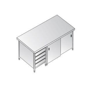 Mesa-de-200x70x85-de-acero-inoxidable-304-cajones-armadiato-restaurante-pizzeria