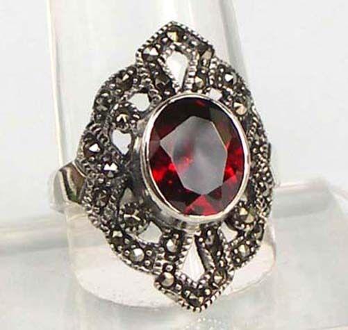 925 ECHT silver  Großer Granat Markasit Ring, Größenauswahl