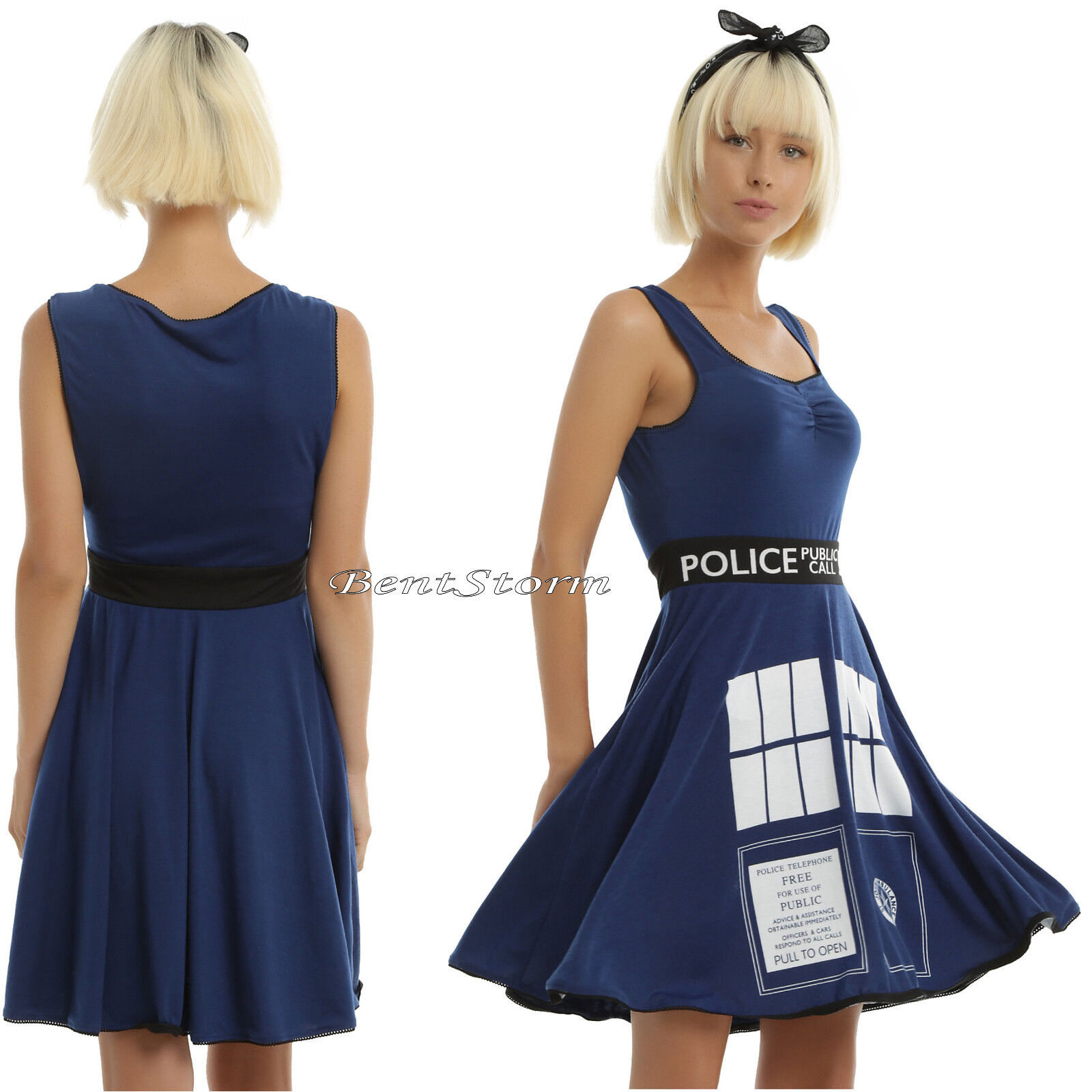 Doctor Dr. Who - BBC Cosplay Costume Tardis Skater Dress Police Call Box