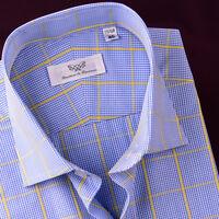 Blue Yellow Plaids & Checks Casual Modern Business Dress Shirt Button Down Style