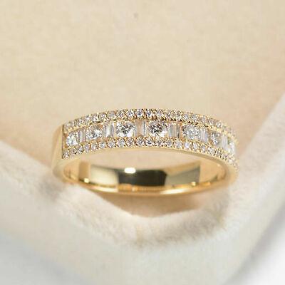 Men/'s 14K Yellow Gold Over 1.00 Ct Round Cut D//VVS1 Diamond Wedding Band Ring