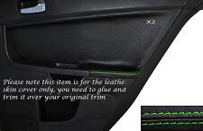 GREEN Stitch 2x POSTERIORE PORTA CARD Trim pelle copertura Si Adatta Mitsubishi Lancer Evo X 10