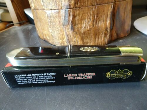 """BLADES ITS HUGE STEEL WARRIOR 5 1//4/"""" CLOSED TRAPPER CAPE BUFFALO HANDLE 440 S.S"""