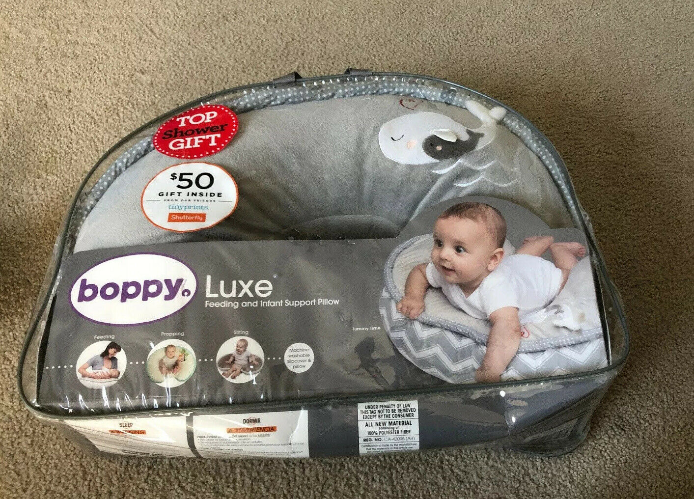 Picture of: Boppy Nursing Pillow And Positioner Luxe Chevron Whales Gray For Sale Online Ebay