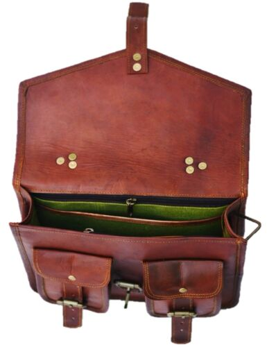 Shoulder Men Women Genuine Vintage Brown Leather Messenger Laptop Bag Briefcase