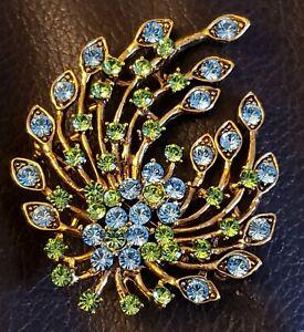 Pretty-Vintage-Floral-Flower-Green-amp-Blue-Rhinestone-2-1-2-Inch-Brooch-Pin