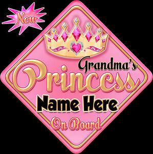 Personalised Baby On Board Car Sign ~ Nanny/'s Princess Baby Pink /& Gold