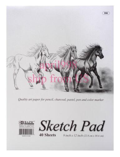 "4 pc//pk:Bazic White 9/"" X 12/"" Premium Sketch Pad 40CT sheets//each book #550"