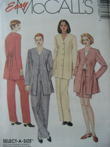 BACK TIE JACKET /& PANTS PATTERN  8-20 FF LADIES FRONT BUTTON McCALL/'S # 7823