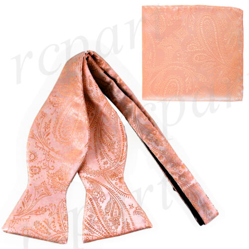 New Men/'s 100/% Polyester Paisley Formal Self-tied Bow Tie /& hankie set Peach