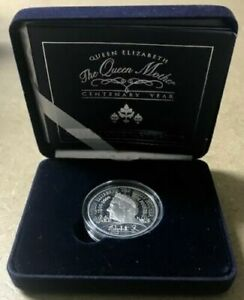 GREAT-BRITAIN-Queen-Mother-Centenary-Proof-Silver-5-Crown-2000-COA-BOX-7044