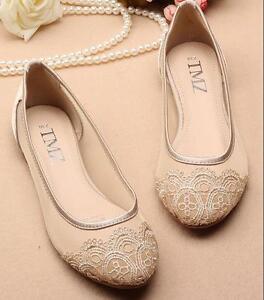 New Ladies Flat Mesh Ballet Pumps Womens Fine Lace Wedding Bridal ... dc773ef2e