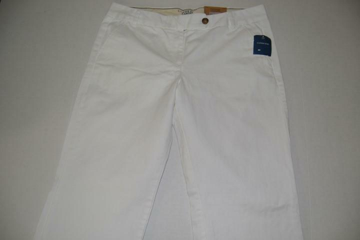 LANDS END LOW RISE STRAIGHT LEG CANVAS WHITE PANTS WOMENS SIZE 14 NEW