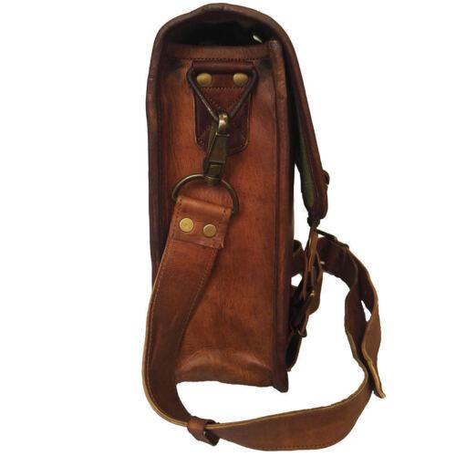 Vintage Messenger Shoulder Briefcase Laptop Bag Leather Men/'s Genuine Brown Goat