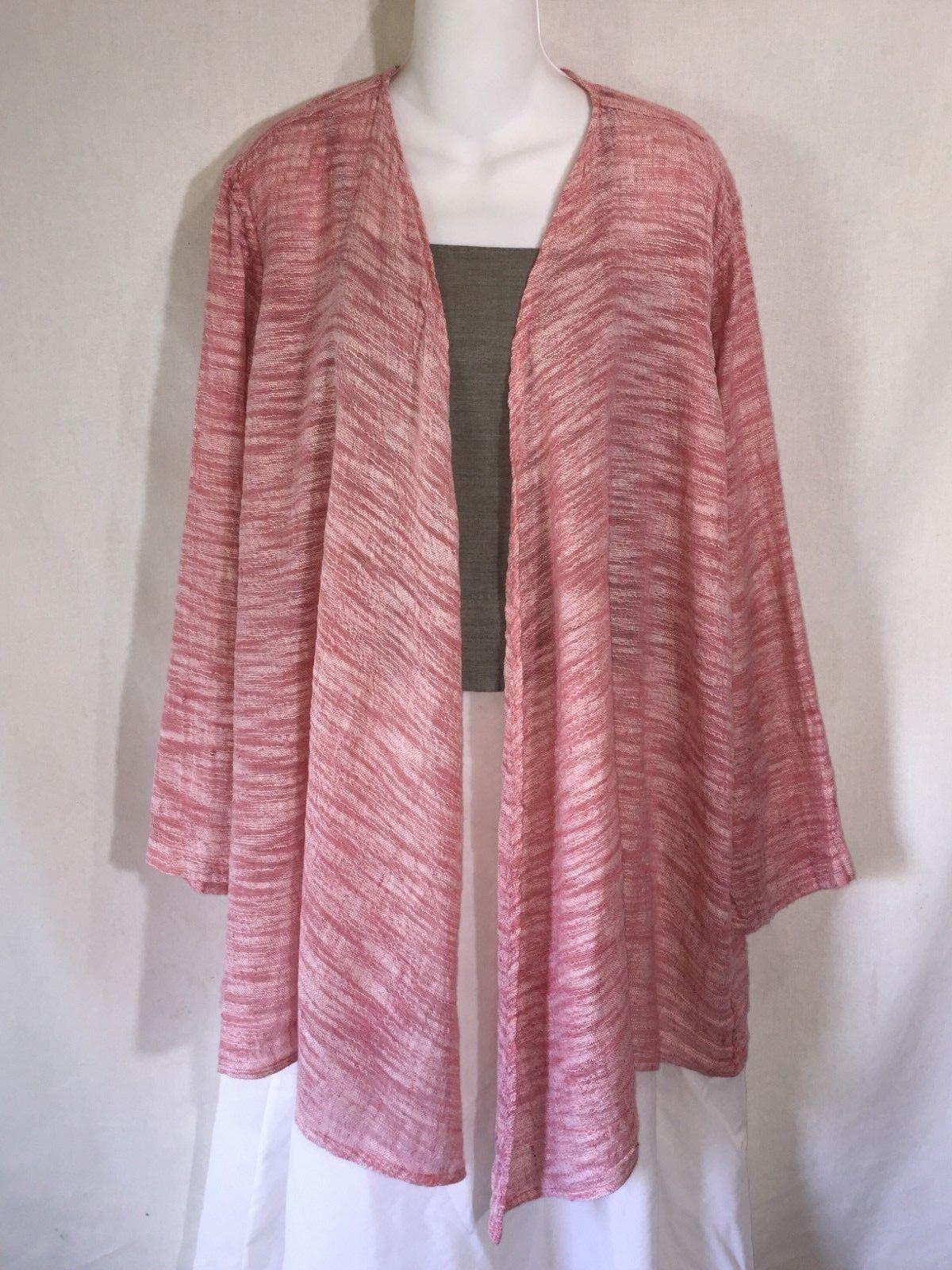 FLAX Engelhart Long Loose Rosa Gauze Linen Lagenlook Open Cardigan Jacket Top M