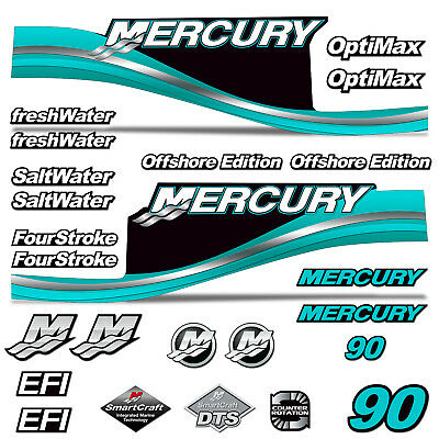 Teal AMR Racing Outboard Engine Motor Sticker Decal Graphics kit for Mercury 90