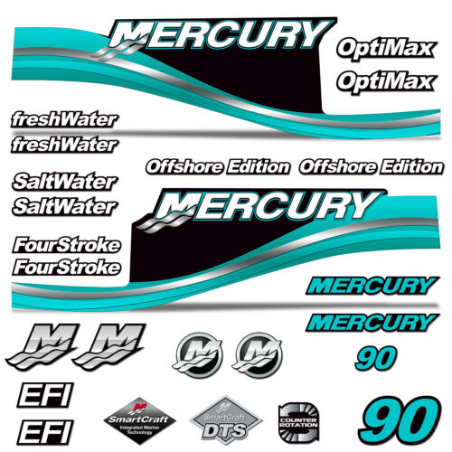 Mercury 90 Four 4 Stroke Decal Kit Outboard Engine Graphic Motor Stickers TEAL
