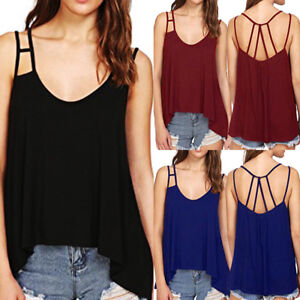 14391dc408396 Details about Women s Sexy Bandage Solid V-Neck Flowy Strappy Loose Tank  Tops Camisoles Blouse