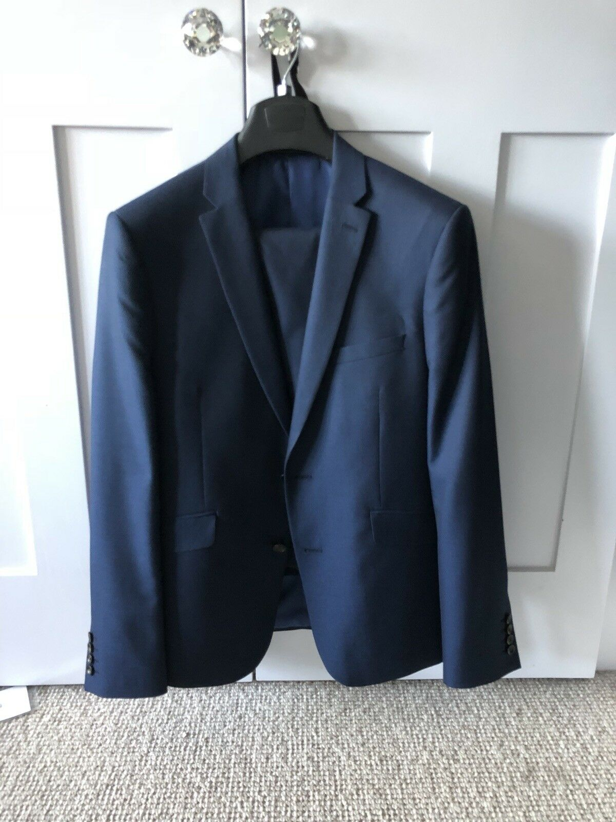 Mens M&S Indigo bluee Suit 42R 34W 32L