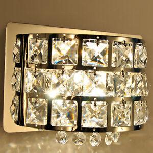 Modern Clear Crystal Led Bath Vanity Light Single Light Wall Sconce