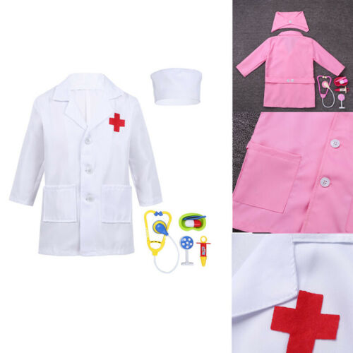 Children Kids Unisex Hospital Doctor Lab Coat Fancy Dress Party Costumes Outfit