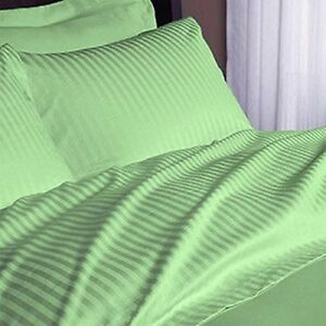Egyptian-Cotton-1-Fitted-Sheet-Only-Sage-Stripe-Color-1000-Thread-Count-USA-Size