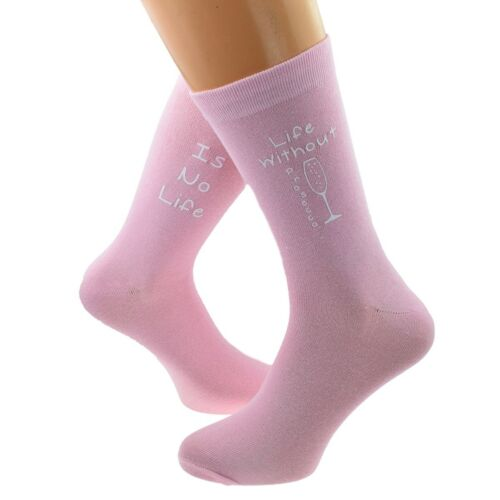 Life without Prosecco is No Life Fun Printed on Ladies Pale Pink Socks
