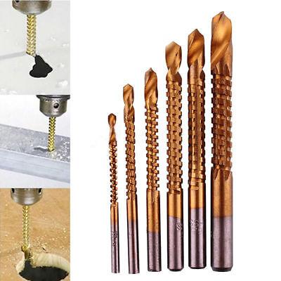 6Pcs 3//4//5//6//6.5//8mm Titanium Coated HSS High Speed Steel Drill Bit Set Tool