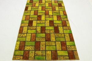 Patchwork-Orient-Tapis-Vintage-jaune-vert-200x120-Used-Look-noue-a-la-main-2520
