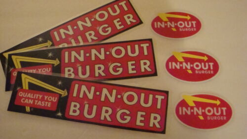 """--3+3 LAMINATED /""""BUMPER STICKERS/""""  -LOT OF SIX 6 IN-N-OUT BURGER-DISCONTINUED"""