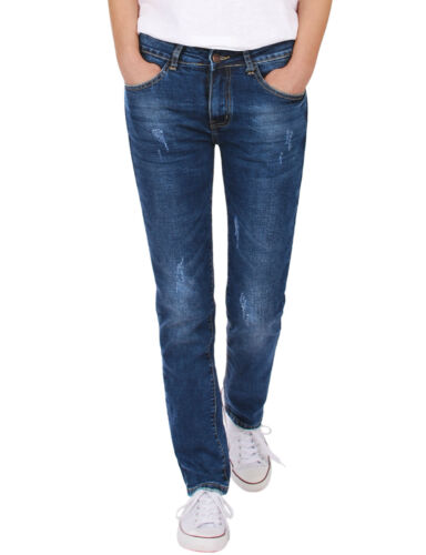 Damenjeans Hose straight cut normal waist gerade used stretch Blau Neu