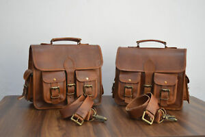 2 Pockets Brown Leather Panniers  Saddlebags Motorcycle Side Bag 1 Pair