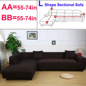 Details about 2pcs L Shape Stretch Elastic Fabric Sofa Cover Sectional  Corner Couch Covers US