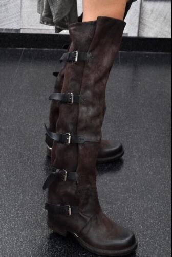 Haut Femme Original Cuir Knight Boucle et Fermeture Éclair Genou Bottes Cowboy Chaussures Taille F478