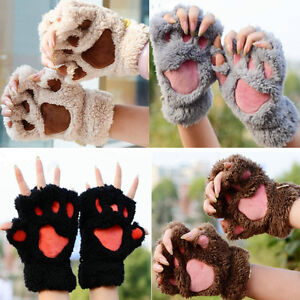 1-Pair-Women-Winter-Soft-Warm-Plush-Paw-Gloves-Fluffy-Bear-Paw-Fingerless-Gloves