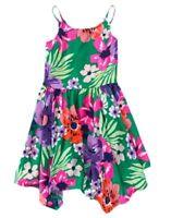 Crazy 8 Jungle Floral Tropical Colorful Floral Handkerchief Hem Dress