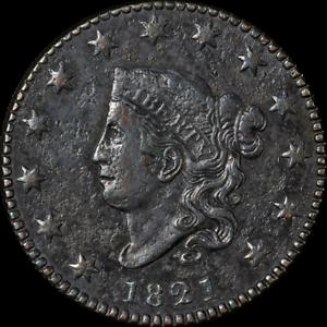 1821 Large Cent VF/XF Details N.1 R.1+ Decent Eye Appeal Nice Strike