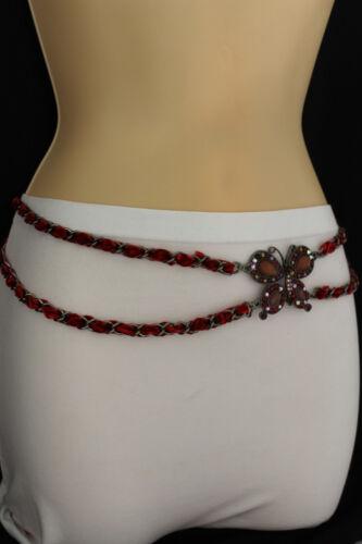 New Women Fashion Belt Hip Waist Metal Chain Big Butterfly Charm Red Beads S M