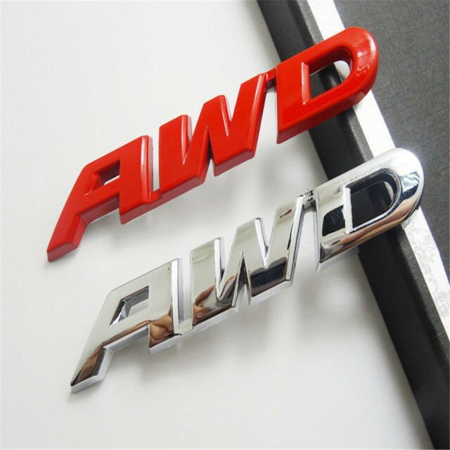 Auto Chrome AWD Emblem Badge Car Metal Sticker Decal 4 Wheels Drive SUV Off Road