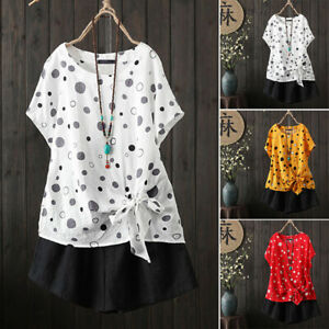 ZANZEA-Women-Short-Sleeve-Summer-T-Shirt-Polka-Dot-Bowknot-Tee-Shirt-Blouse-Plus