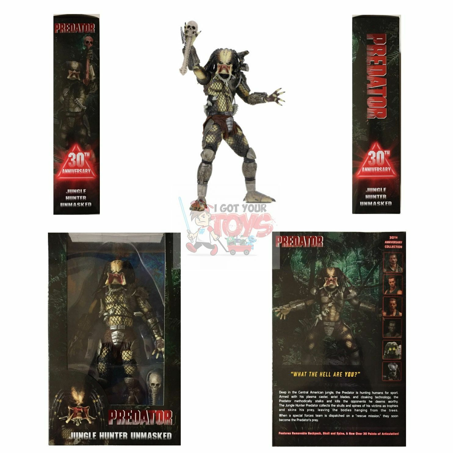 JUNGLE HUNTER PREDATOR (UNMASKED) Neca 30th Series 18 2017 7  Inch FIGURE