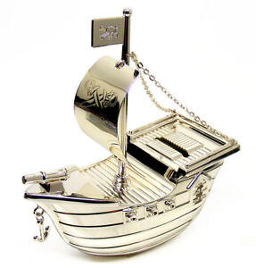 Image Is Loading Personalised Silver Plated Pirate Ship Money Box Engraved