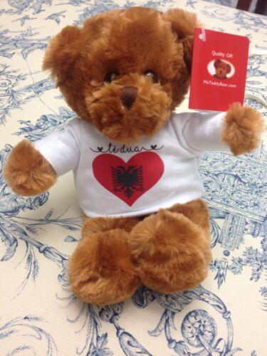 Teddy Bear Albania Flag Heart Shirt Says I Love You in Albanian Arush Pelushi