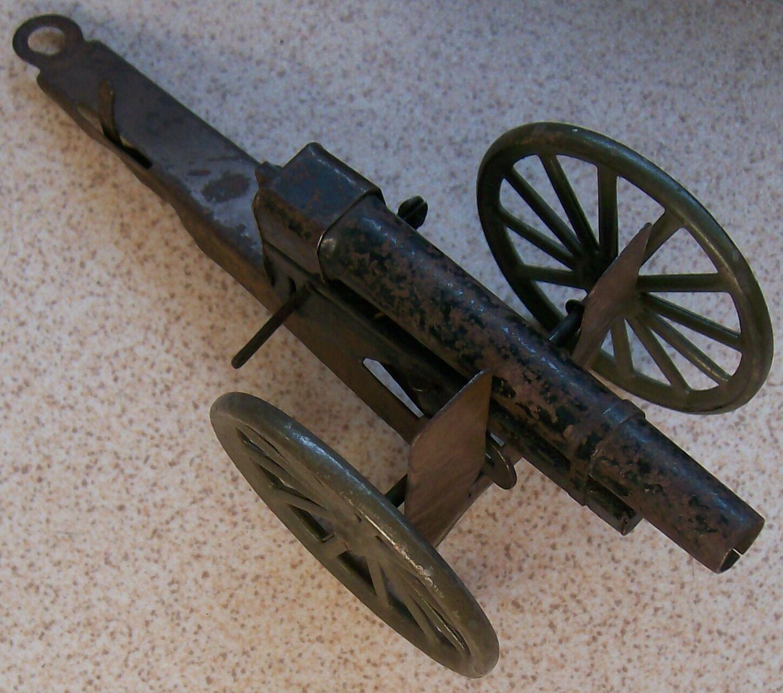 Alemania Cañón De Juguete de estaño, 20 cm X 8 cm de lado todo Original En Funcionamiento