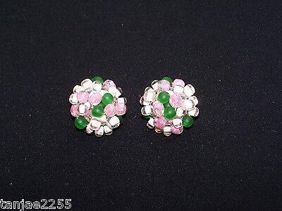Gentile 50er Anni Orecchini Clip Vintage Bianco/verde/rosa Bigiotteria Vetro (101)-a Glas Modeschmuck (101) It-it Mostra Il Titolo Originale