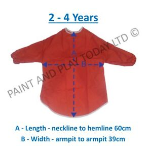 Apron Children/'s Play Nylon RED Small 42 cm Long Sleeve Elasticated cuffs 1031R